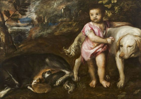 Titian (Tiziano Vecellio): Boy with Dogs in a Landscape. Fine Art Print/Poster. Sizes: A4/A3/A2/A1 (001948)